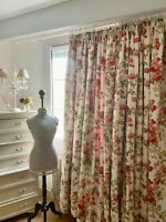 LAURA ASHLEY CURTAINS shabby COTTAGE chic CABBAGE ROSES interlined *HUGE* RARE