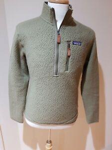 Patagonia Mens Small Retro Pile Pullover 1/4 Zip.  Sage Khaki.