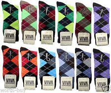 New 12 Pairs VIVA Mens Argyle Dress Socks Cotton Multi Color Size 10-13 Fashion