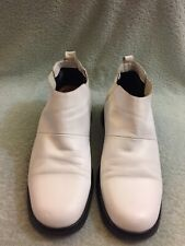 Costume national homme Men's White Leather Mid Boot Size 7