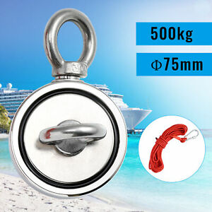 500kg Strong Double Side Salvage Neodymium Magnet Treasure Hunting 10M Rope