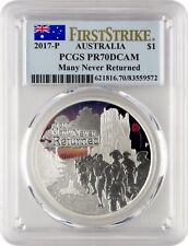 "2017 Australia ANZAC ""Many Never Returned"" 1oz .999 Silver Proof PCGS PR70 W/Box"