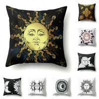 EG_ SUN MOON PRINTED THROW PILLOW CASE HOME CAFE CARSOFA BED CUSHION COVER KIND