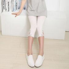 Women Summer Leggings Lace Skinny Stretch Mid-Length Trim Slim Pants Trousers