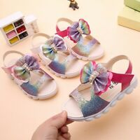 Summer Children Infant Kid Baby Girl Bling Bow Princess Hollow Sandals Shoes AU
