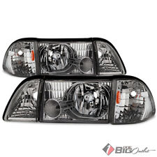 For 87-93 Mustang Chrome Headlights Replacement Driver+Passenger LH+RH Full Set