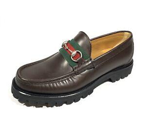 NEW GUCCI Silver HorseBit Web Strip Brown Leather Lug Mens Shoe 7 G 7.5 US