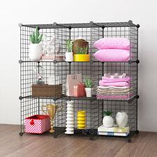Black Metal Wire Storage Shelf Organizer Book Case Shelves Shelving Unit 9 Cubes