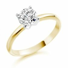 Gold Solitaire Not Enhanced Fine Diamond Rings