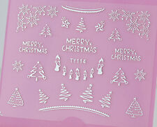 Merry Christmas SILVER Snowflake Xmas TreeS Candles 3D Nail Art Sticker Decal UV