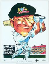 "DON BRADMAN CARICATURE POSTER  ""WORLD TEST RECORD"" 540 mm x 400 mm 'CLEARANCE'"