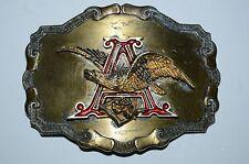 Anheuser Busch Belt Buckle Vintage 1981 Original Logo Brasstone Metal Biker RARE
