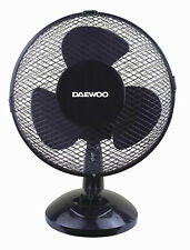 "Daewoo 9"" Inch Small Oscillating 2 Speed Air Cooling Desk Work Top Fan - BLACK"