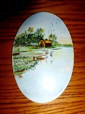 Wg&Co - Limoges France - Unusual Oval Collector Plate Souvenir of Farm Scene