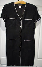 Donna Ricco size 12 Black with White Accents Career Dress Shoulder Pads made USA