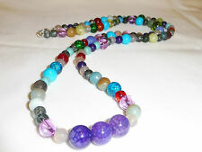 Handmade Ladies Jewelery Multi- coloured Crackle & Mixed Beads Necklace - 27 in