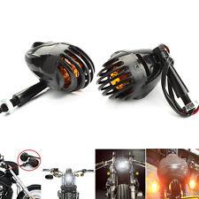 2X Lamp Grill Bullet Turn Signal Indicator Black Harley Chopper Bobber Racer 12V
