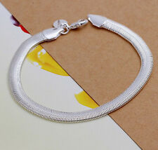 Promotion 925Sterling Silver Cute Unisex Flat Soft Snake Bone Bracelet 6MM H164