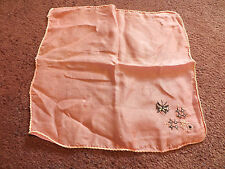 """Collectible Ladies Hankerchiefs Pink Silk Black White Embroidery 9"""" Vintage Wow"""