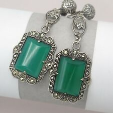 Vtg 1930s Art Deco Sterling Silver Chrysoprase Dangle Drop Pendant Earrings