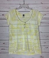 Free People Women's Sz S Small Yellow Short Sleeve Spring Summer Top Shirt Tee