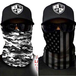 ( 2 ) Salt Armour Fishing White Camo + Blackout American Flag Shield / Mask