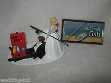 Wedding Reception Engagement Party Sign Fisherman  ~Gone Fishing~  Cake Topper
