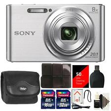 Sony DSC-W830 20.1MP Point and Shoot Digital Camera Silver + 48GB Accessory Kit