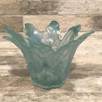 Aqua Swirl Glass Flower Shaped Votive Candle Holder