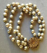 Vintage Miriam Haskell Signed 3 Strand Baroque Pearls Bracelet