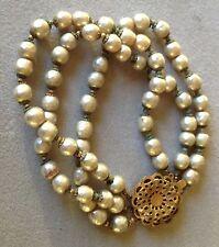 Vintage Miriam Haskell Signed 3 Strand Baroque Pearls Bracelet