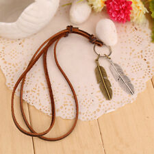 Unisex Charms Choker Two Wings Feather Pendant PU Leather Necklace High Quality