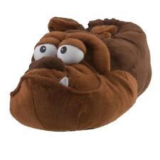 Bulldogge Hund Tier Hausschuhe Pantoffel Schlappen Plüsch Unisex Braun 35-42