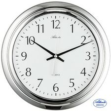 Atlanta Bathroom Clock Quartz Water Protected Chrome Colour Laundry Room Ø 31 cm