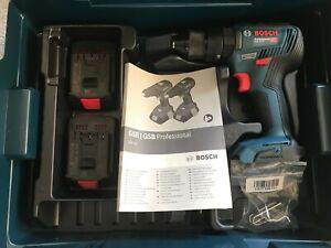 Bosch Pro18v GSB 18v-55 Brushless Combi Hammer Drill, 2x2.0ah Batteries, L-Boxx