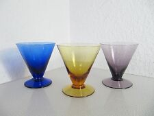 Vintage 3 Gläser SAFTGLÄSER EISBECHER Fußglas buntes Glas 60er Jahre