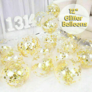 10/100x 30cm Confetti Balloons Glitter Clear Latex Birthday Party Wedding Sequin