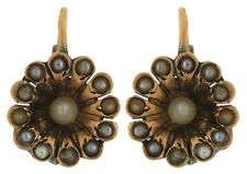 Antique Victorian 1890s 18K Yellow Gold Floral Seed Pearl Leverback Earrings