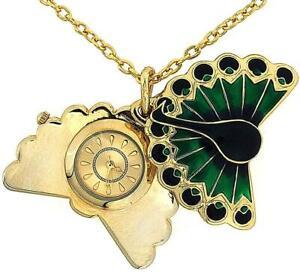 "Inspirations Ladies Analogue Gold Tone Peacock Pendant Watch 24"" Chain WA086995"