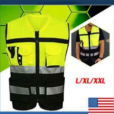 Us Hi Vis Safety Vest Reflective Jacket Security Waistcoat With Zipper Pocket Us