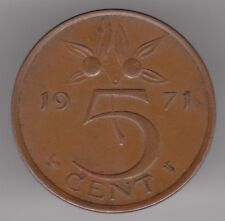 Netherlands 5 Cents 1971 Bronze Coin - Queen Juliana