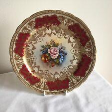 Vintage Aynsley Porcelain JA Bailey signed Flowers Gold Gilded Cabinet Plate