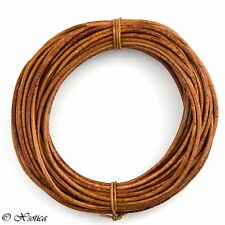 Brown Light Natural Dye Round Leather Cord 3mm 3 meters (3.28 yards)
