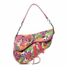 Christian Dior Limited Edition Canvas Floral Saddle Bag Multicolor Handbag