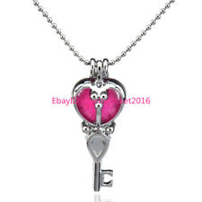 Key Beads Stones Cage - Girl Locket Necklace Aromatherapy Stainless Chains -K25