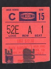 1982 Black Sabbath Concert Ticket Stub Madison Square Garden NY Mob Rules