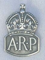 1938 SILVER ARP CIVIL DEFENCE AIR RAID PRECAUTIONS LAPEL BADGE HOME FRONT WW2