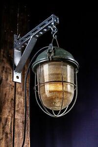 80er LOFT Industrielampe Klein Bunkerlampe Industrial Fabrik Metal LAMP Gitter