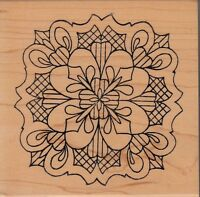 """flower mosaic1525M holly berry Wood Mounted Rubber Stamp 4 x 4""""  Free Shipping"""