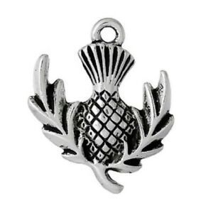 Thistle Charms Tibetan Silver Pendant Pack of 10